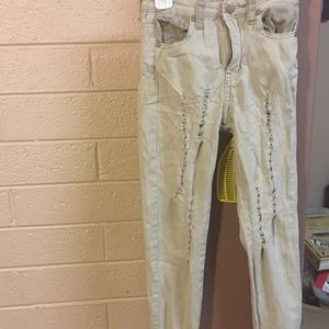 AQ Bottoms - AQ Distressed 🌺 Beige Jeans